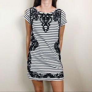 Anthro Postmark Stripe Trimmed Shift Dress